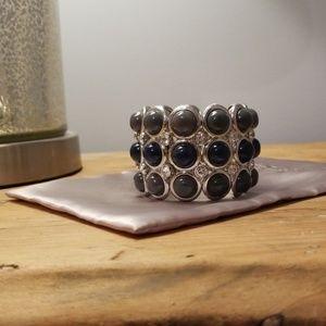 Loft Grey & Blue wide stretch bracelet